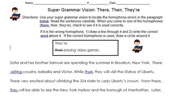 THEY'RE-THEIR-THERE Homophones Unit CCSS Aligned