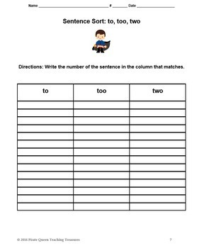 Homophones: TO, TOO, TWO Sort Activity/CCSS Aligned
