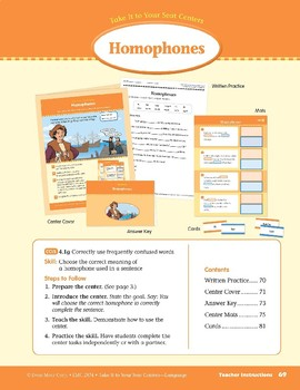 Homophones (Take It to Your Seat Centers: Common Core Language)