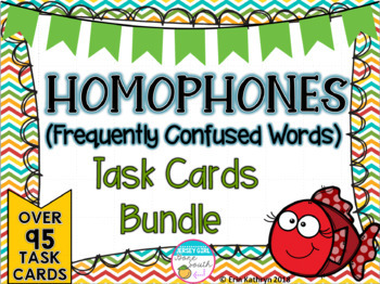 Homophones Task Card Bundle - 3 Sets of 32 Task Cards - Common Core