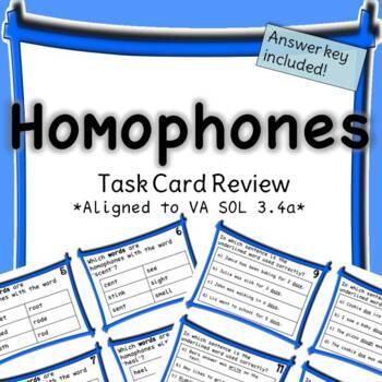 Homophones Task Card SOL Review