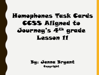 Journey's aligned Homophones Task Cards