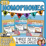 Homophones Task Cards: 3 Set Bundle (96 Cards Total)