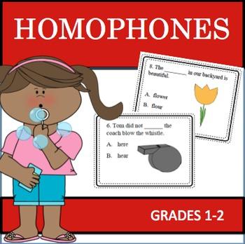Homophones Task Cards + Assessment & Word Sort (1st - 2nd)