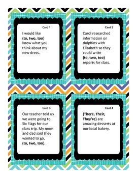Homophones Task Cards Grade 4