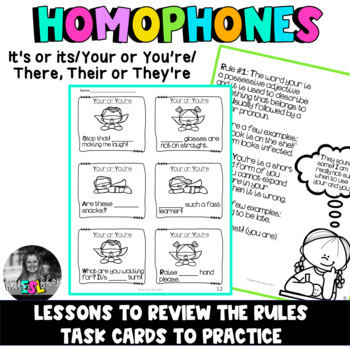 Homophones ESL - Task Cards (It's or its/Your or You're/There,Their or They're)