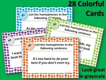 Homophones Task Cards: Scoot Game, Posters, & Worksheet