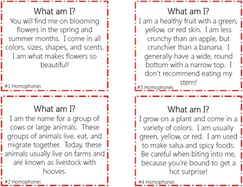Homophones Task Cards with PHOTOS