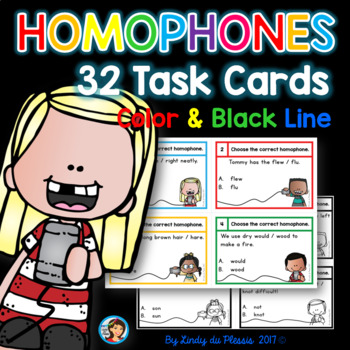 Homophones Task Cards for 2nd, 3rd, and 4th grade