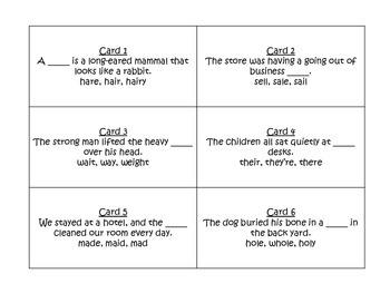 Homophones Task Cards for Journeys 3rd Grade
