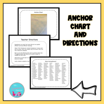 Homophones Task Cards with Anchor Chart and Exit Ticket