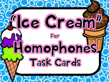 Homophones Task Cards- with a QR Code Version