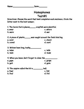 Homophones Test 1