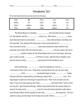 Homophones Test