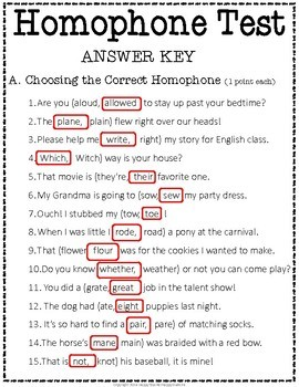 Homophones Test: 2-Page Homophone Quiz with Answer Key