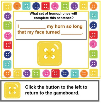 Homophones That Are Cute As A Button Lesson and PRINTABLE Cards PRIMARY Level