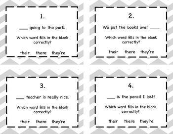Homophones: Their, There, They're Task Cards