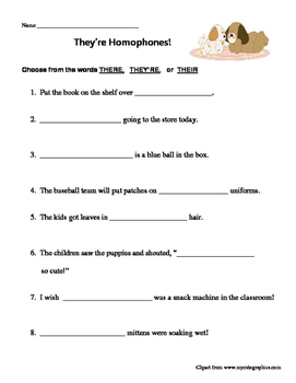 Homophones: There, Their, They're Worksheet by M and M Resources