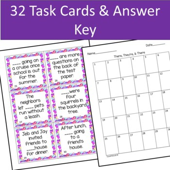 Homophones | There, They're, and Their Task Cards