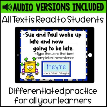 Homophones- There, their, & they're Digital Boom Cards