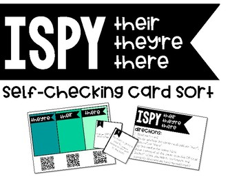 Homophones - They're, Their, & There - Self-Checking Sort Center with QR Codes!