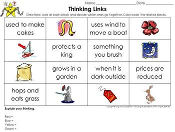 Homophones Thinking Links Activity - King Virtue's Classroom