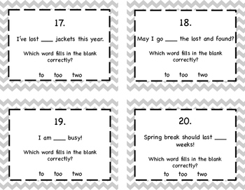 Homophones: To, Too, Two Task Cards