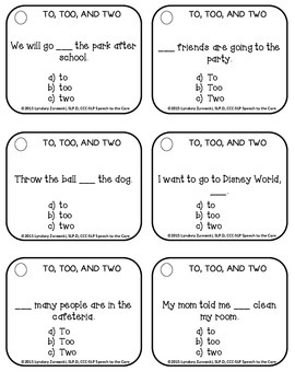 Homophones- To, Too, and Two: Differentiated Therapy Packet