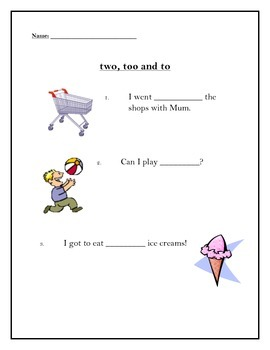 Homophones - Too, two and to