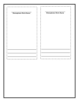 Homophones 'Trading Cards' Template