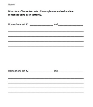 Homophones Quick Assessment