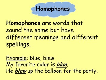 Homophones-Vocabulary practice and assessment