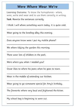 Homophones: Where Were Wear We're - Set of 6 Worksheets