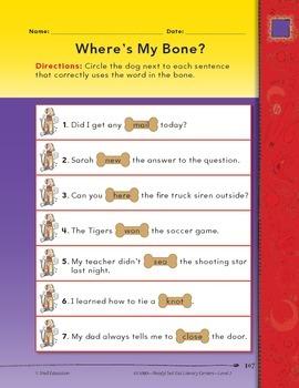 Homophones--Where's My Bone? Literacy Center (eLesson)
