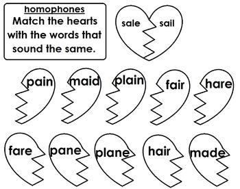 Homophones Word Sort / Matching / Breaking Hearts