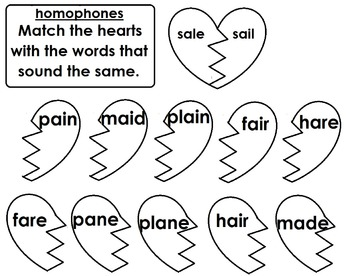 Homophones Word Sort / Matching / Breaking Hearts