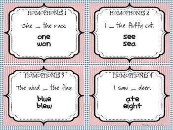 Homophones Word Work Task Cards Set 1