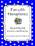 Homophones Word Work and Centers