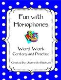 Homophones Word Work and Centers