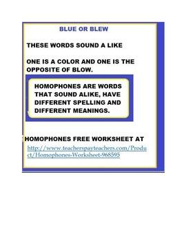 Homophones Worksheet