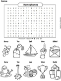 Homophones Worksheet/ Color-In Word Search