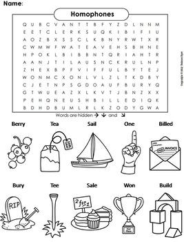 Homophones Worksheet/ Color-In Word Search