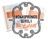 Homophones Worksheet Two Level I