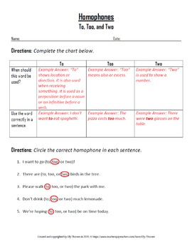 Homophones Worksheet: Using To, Too, and Two Correctly
