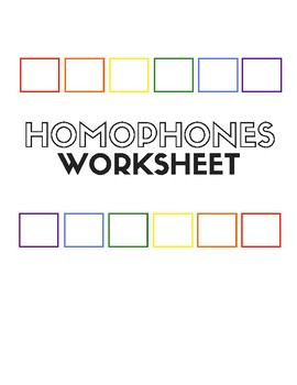 Homophones Worksheet for English Language Learners (ELL, EFL, ESL)