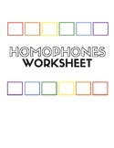 Homophones Worksheet for English Language Learners (ELL, E