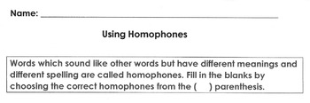 Homophones Worksheet: hear/here  new/knew   to/two   knows/nose   by/buy  be/bee