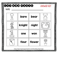 Homophones Worksheets | Cut and Paste
