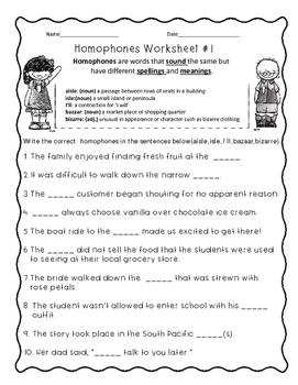 Homophones Worksheets-Set 4