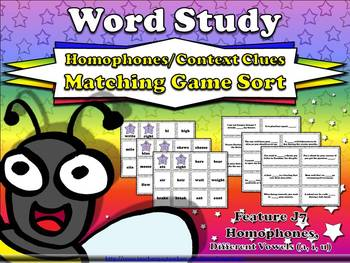 Homophones and Context Clues Matching Game Sort J7 Different Vowels a i u